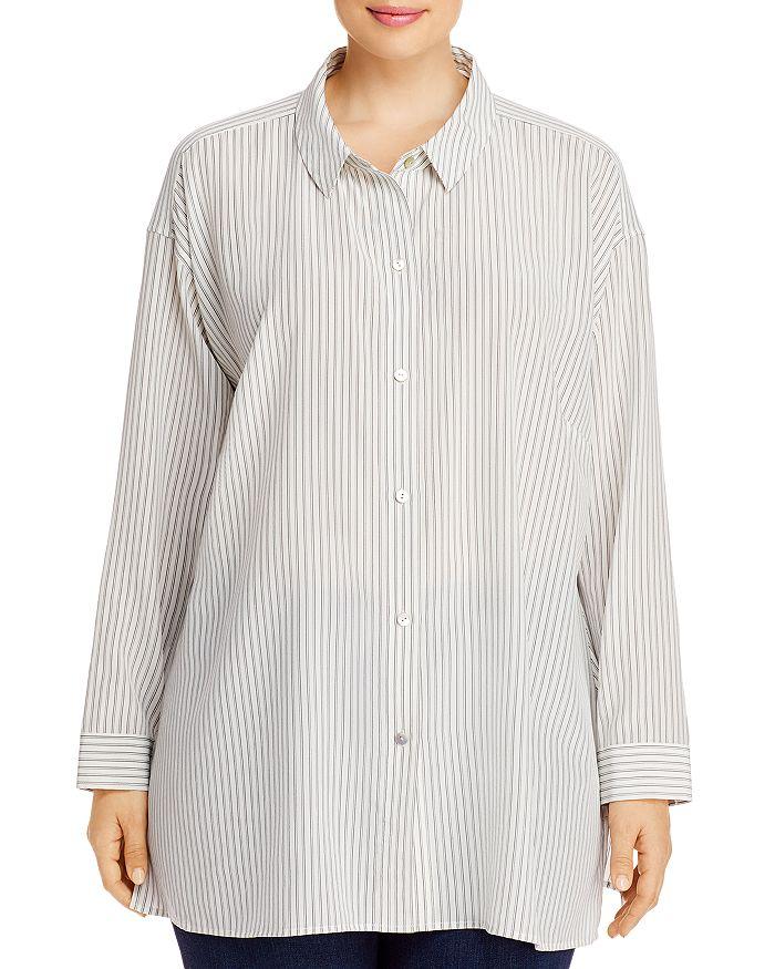 Eileen Fisher - Pinstriped Silk Button-Front Shirt