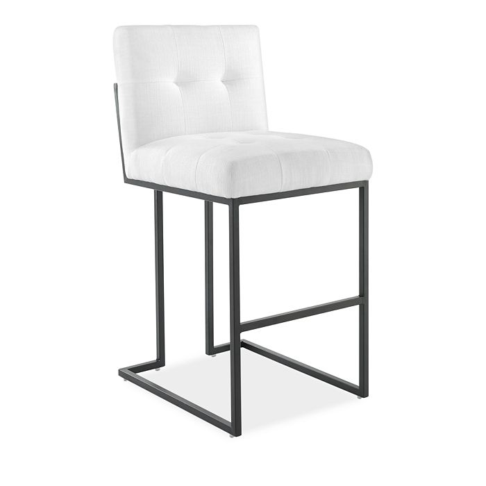 Modway - Privy Black Stainless Steel Upholstered Fabric Bar Stool