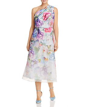 Adrianna Papell Plus -  One-Shoulder Floral Print Organza Dress