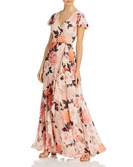 Eliza J - Floral-Print Ruffled Dress