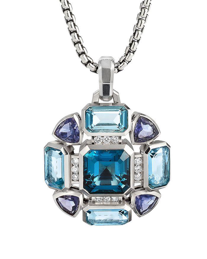 David Yurman - Novella Statement Pendant with Blue Topaz and Pavé Diamonds