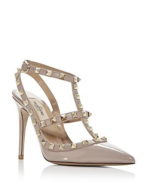 Valentino Garavani Women's Rockstud Leather T-Strap High-Heel Pumps