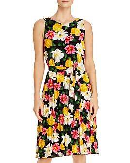 T Tahari - Pleated Floral Tie-Waist Dress