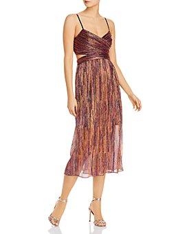 Aidan by Aidan Mattox - Metallic Pleated Dress