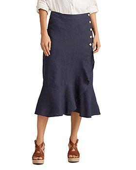 Ralph Lauren - Linen Flounce-Hem Wrap Skirt