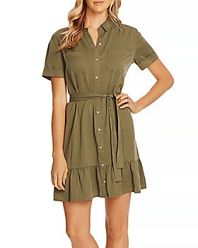 VINCE CAMUTO - Cuffed-Sleeve Ruffled-Hem Shirt Dress