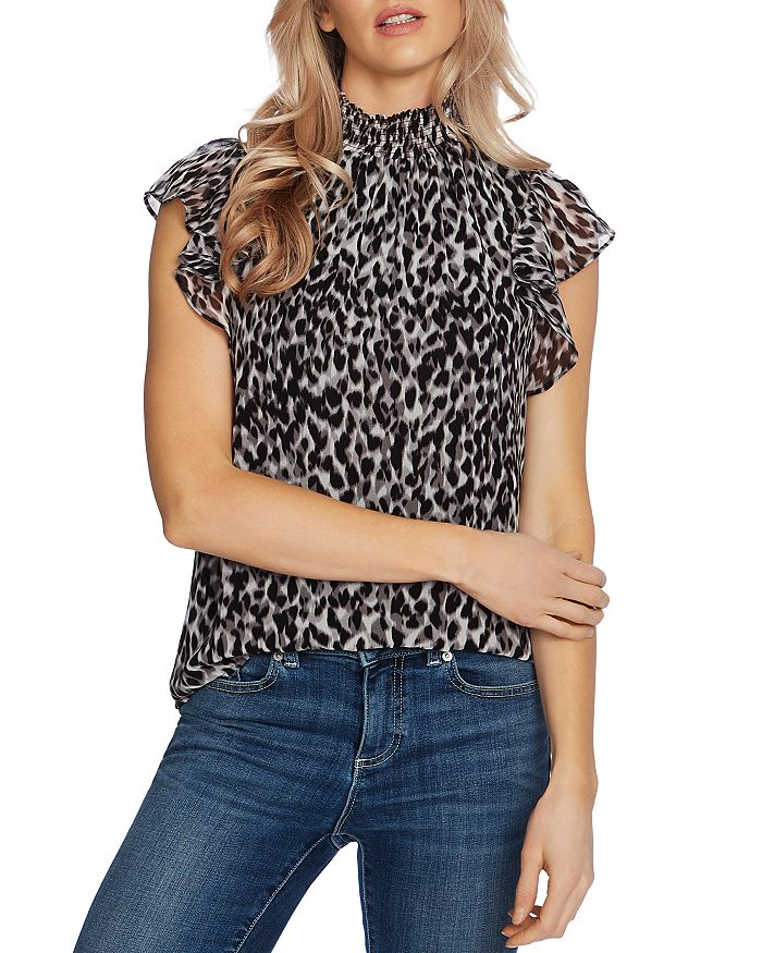 1.state CAT PRINT FLUTTER-SLEEVE TOP