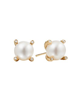 David Yurman - Pearl Earrings with Diamonds and 18K Gold