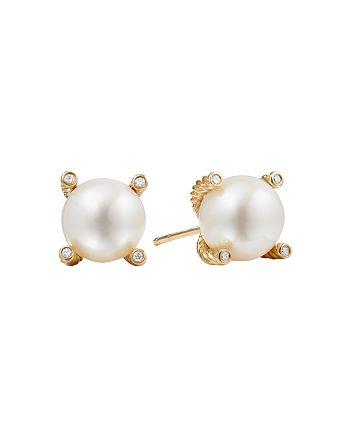 David Yurman - Pearl Earrings with Diamonds and 18K Gold