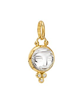Temple St. Clair - 18K Yellow Gold Small Carved Crystal Moonface Pendant with Diamonds