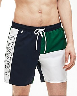 Lacoste - Quick-Dry Color-Blocked Logo-Print Swim Trunks