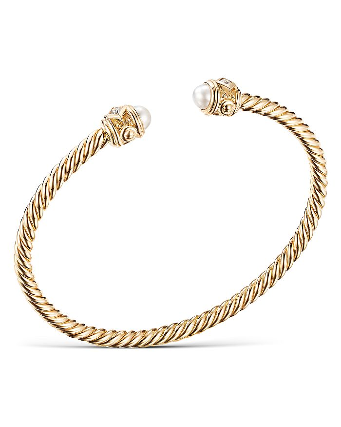 David Yurman - 18K Yellow Gold Renaissance Bracelet with Pearls & Diamonds