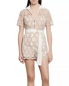 Sandro - Yanel Belted Lace Romper
