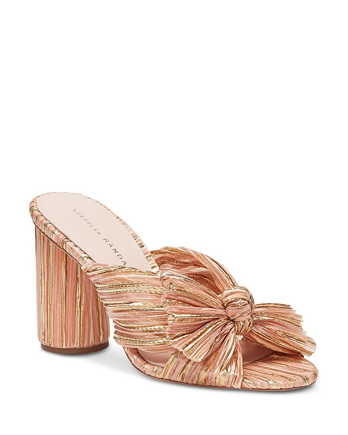 Loeffler Randall WOMEN'S PENNY PLEATED MHIGH-HEEL SLIDE SANDALS