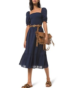 Michael Michael Kors Smocked Cotton Lawn Puff Sleeve Dress-Women