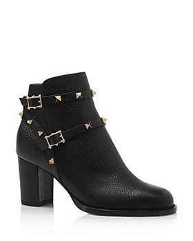 Valentino Garavani - Women's Rockstud Pebbled Leather Booties