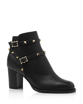 Valentino Garavani - Women's Rockstud Pebbled Leather Booties