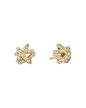 David Yurman - The Crossover Collection® Stud Earrings in 18K Yellow Gold with Full Pavé Diamonds