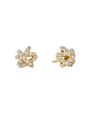 David Yurman 18K Yellow Gold Crossover Collection Diamond Pave Stud Earrings
