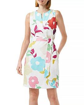 HOBBS LONDON - Daria Floral Linen Sheath Dress