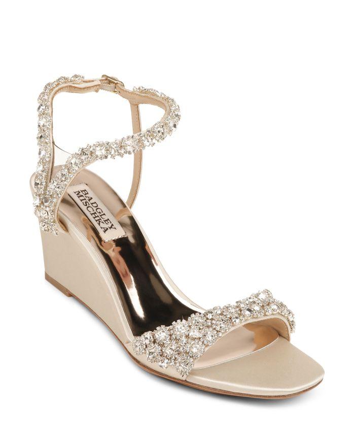 Badgley Mischka Women's Gali Embellished Wedge Sandals    Bloomingdale's