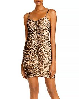 AQUA - Ruched Leopard Print Dress - 100% Exclusive