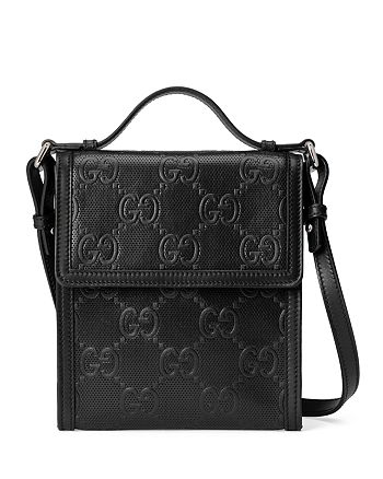 Gucci - GG Embossed Leather Messenger Bag