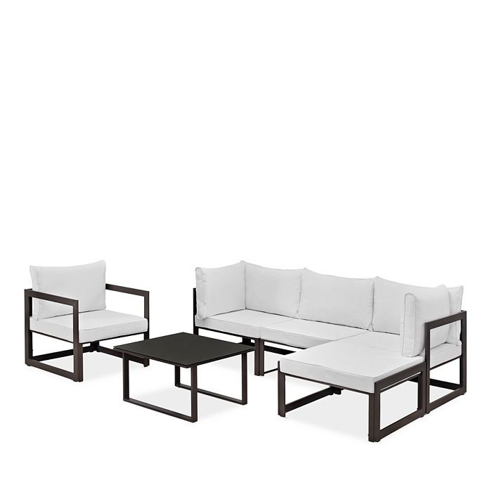 Modway - Fortuna 6 Piece Outdoor Patio Sectional Sofa Set with Small Coffee Table, Ottoman and Single Armchair