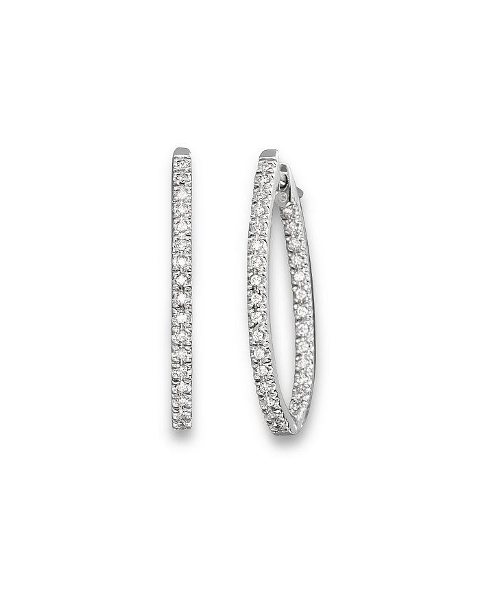 Bloomingdale's - Inside Out Diamond Hoop Earrings in 14 Kt. White Gold, 0.50 ct. t.w.- 100% Exclusive