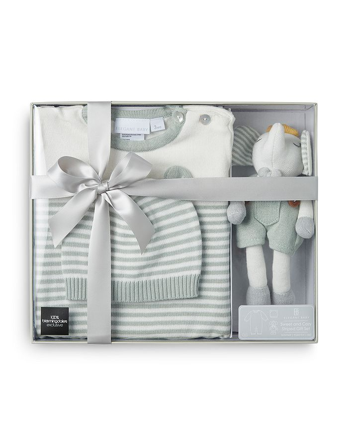 Elegant Baby - Boys' 3 Pc. Hat, Jumpsuit & Plush Toy Boxed Gift Set, Baby – 100% Exclusive