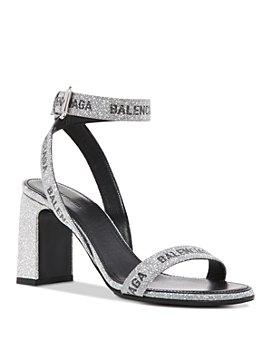 Balenciaga - Women's Allover Logo Round 80mm Ankle Strap Sandals