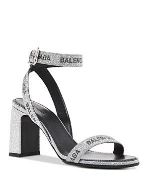 Balenciaga Women's Allover Logo Round 80mm Ankle Strap Sandals