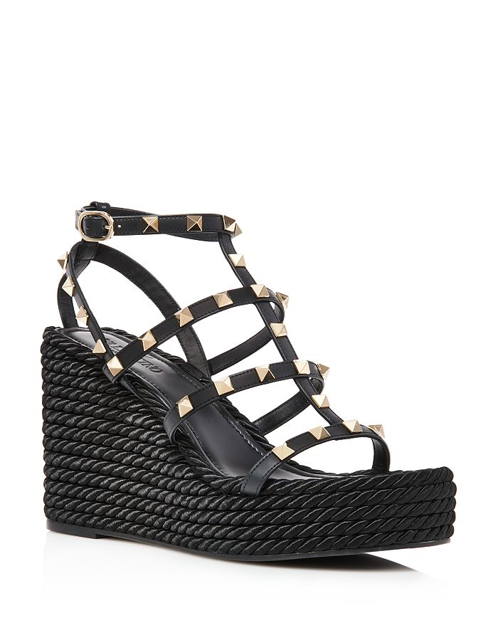 Valentino Garavani - Women's Rockstud Torchon Espadrille Wedge Platform Sandals