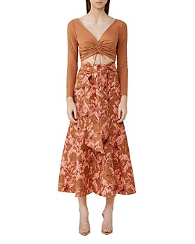 Significant Other - Sienna Printed Linen Blend Midi Skirt
