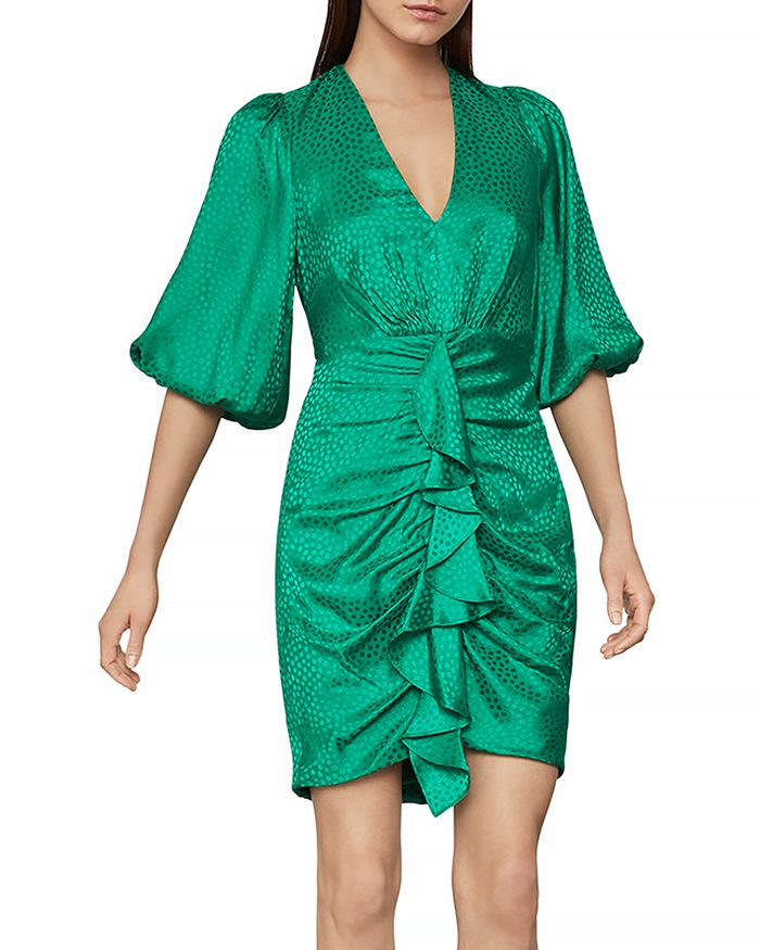 BCBGMAXAZRIA - Balloon Sleeve Ruffled Dress