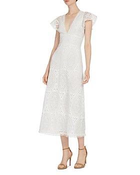 ML Monique Lhuillier - Lace Flutter Sleeve Midi Dress