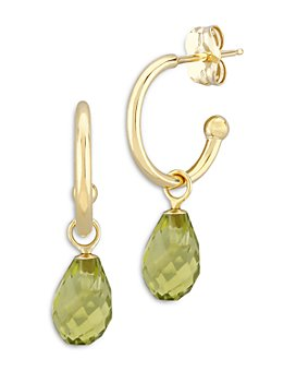 Bloomingdale's - Peridot Briolette Dangle Mini Hoop Earrings in 14K Yellow Gold - 100% Exclusive