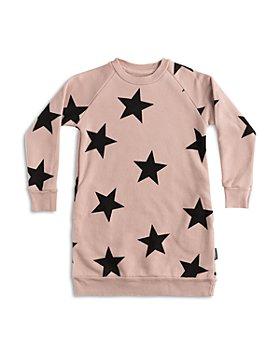 NUNUNU - Girls' Cotton Star Print Sweatshirt Dress - Big Kid