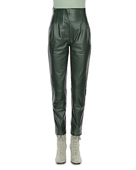 Alberta Ferretti - Leather High Rise Pants