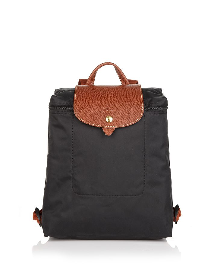 Longchamp Le Pliage Nylon Backpack In Black/gold