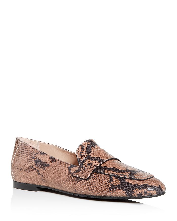 Stuart Weitzman - Snake-Embossed Payson Apron Toe Loafers