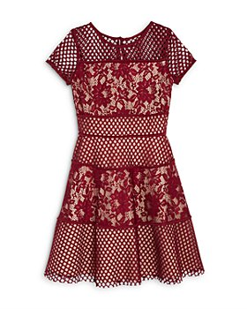 US Angels - Girls' Color Block Lace Panel Dress, Big Kid - 100% Exclusive