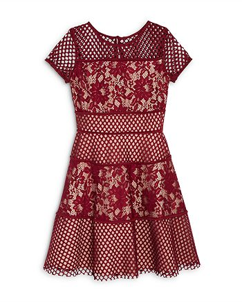 US Angels - Girls' Color Block Lace Panel Dress, Big Kid - 100% Exclusive