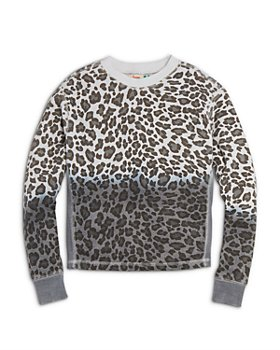 Vintage Havana - Girls' Leopard Print Fleece Crewneck Top - Big Kid