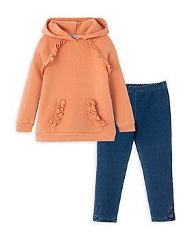 Habitual Kids - Girls' Ruffle Hoodie & Denim Leggings Set - Little Kid