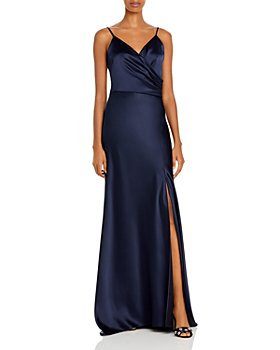 AQUA - Ruched Satin Gown - 100% Exclusive
