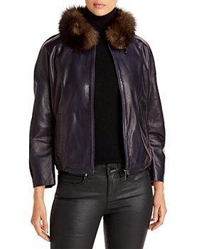 Maximilian Furs - Fur Collar Leather Jacket - 100% Exclusive