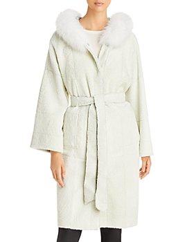 Maximilian Furs - Reversible Shearling Coat with Fox Fur Trim