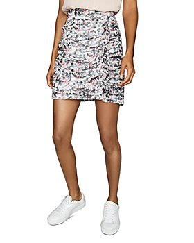 REISS - Lucielle Printed Ruched Skirt