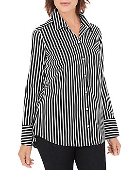 Foxcroft - Striped Button Front Shirt